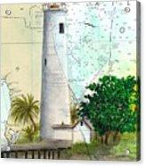 Egmont Key Lighthouse Fl Nautical Map Acrylic Print
