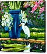 Egret Visits Goldfish Pond Acrylic Print