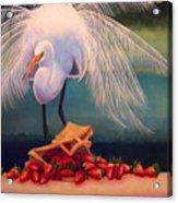 Egret With Strawberry Bag Acrylic Print