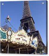 Eiffel Tower And Ancient Carousel Acrylic Print