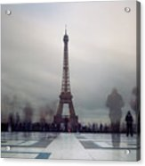 Eiffel Tower And Crowds Acrylic Print