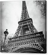 Eiffel Tower And Lamp Post Bw Acrylic Print