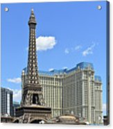 Eiffel Tower And Paris Casino And A Powder Blue Sky Acrylic Print