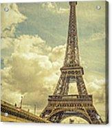 Eiffel Tower And Pont D'lena Vintage Acrylic Print