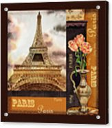Eiffel Tower And Roses Acrylic Print