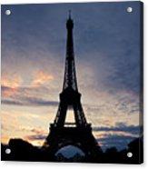 Eiffel Tower At Sunset, Paris, France Acrylic Print by Photo by rachel kara