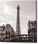 Eiffel Tower Black And White 3 Acrylic Print by Andrew Fare