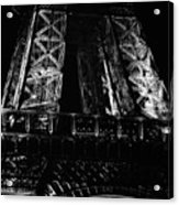 Eiffel Tower Illuminated At Night First Floor Deck Paris France Black And White Acrylic Print
