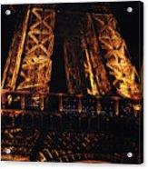 Eiffel Tower Illuminated At Night First Floor Deck Paris France Acrylic Print