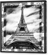 Eiffel Tower In Black And White Design II Acrylic Print