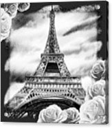 Eiffel Tower In Black And White Design IIi Acrylic Print