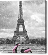 Eiffel Tower In The Rain With Pink Scooter Of Paris. Black And W Acrylic Print