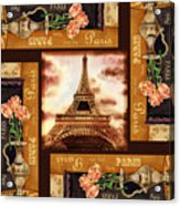 Eiffel Tower Roses Dance Acrylic Print