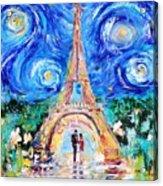 Eiffel Tower Starry Night Romance Acrylic Print