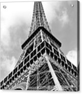 Eiffel Tower Sunlit Corner Perspective Paris France Black And White Acrylic Print