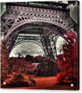 Eiffel Tower Surreal Photo Red Trees Paris France Acrylic Print