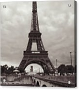Eiffel Tower With Bridge In Sepia Acrylic Print