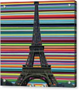 Eiffel Tower With Lines Acrylic Print