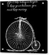 Einstein's Bicycle Quote - White Acrylic Print