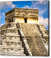 El Castillo - Pyramid At Chichen Itza Acrylic Print by Mark E Tisdale