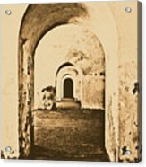 El Morro Fort Barracks Arched Doorways Vertical San Juan Puerto Rico Prints Rustic Acrylic Print by Shawn O'Brien