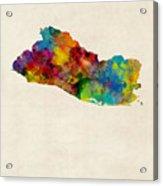 El Salvador Watercolor Map Acrylic Print