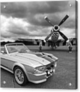 Eleanor Mustang With P51 Black And White Acrylic Print
