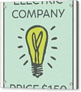 Electric Company Vintage Monopoly Board Game Theme Card Acrylic Print