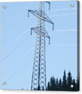 Electric Pylon On Blue Sky Acrylic Print