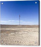 Electricity Pylon In Desert Acrylic Print