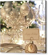 Elegant Holiday Dinner Table With Focus On Place Card Acrylic Print