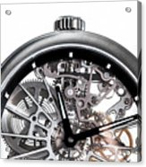 Elegant Watch With Visible Mechanism, Clockwork Close-up. Acrylic Print
