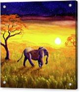 Elephant In Purple Twilight Acrylic Print