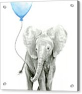 Elephant Watercolor Blue Nursery Art Acrylic Print