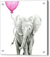 Baby Elephant Watercolor  Acrylic Print
