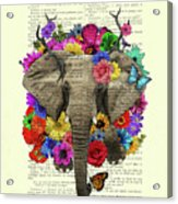 Elephant With Colorful Flowers Illustration Acrylic Print