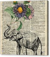 Elephant With Flowers Acrylic Print