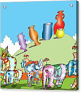 Elephants And Urns On A Hill Acrylic Print