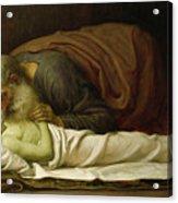 Elisha Raising The Son Of The Shunamite Acrylic Print by Frederic Leighton