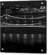 Elizabeth And Liberty Bridges Budapest Bw Acrylic Print