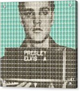 Elvis Army Mug Shot - Blue Acrylic Print
