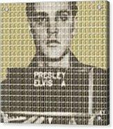 Elvis Army Mug Shot - Gold Acrylic Print