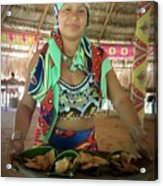 Embera Indian Lady Serving A Meal Acrylic Print