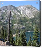 Emerald Bay With Mountain Acrylic Print