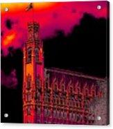 Emily Morgan Hotel With Fiery Sky Acrylic Print