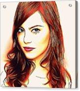 Emma Stone Portrait Colored Pencil Acrylic Print