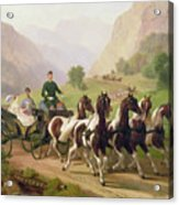 Emperor Franz Joseph I Of Austria Being Driven In His Carriage With His Wife Elizabeth Of Bavaria I Acrylic Print