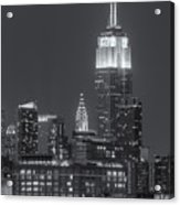 Empire State And Chrysler Buildings At Twilight II Acrylic Print by Clarence Holmes