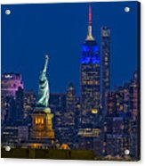 Empire State And Statue Of Liberty II Acrylic Print