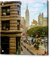 Empire State Building - Crackled View Acrylic Print